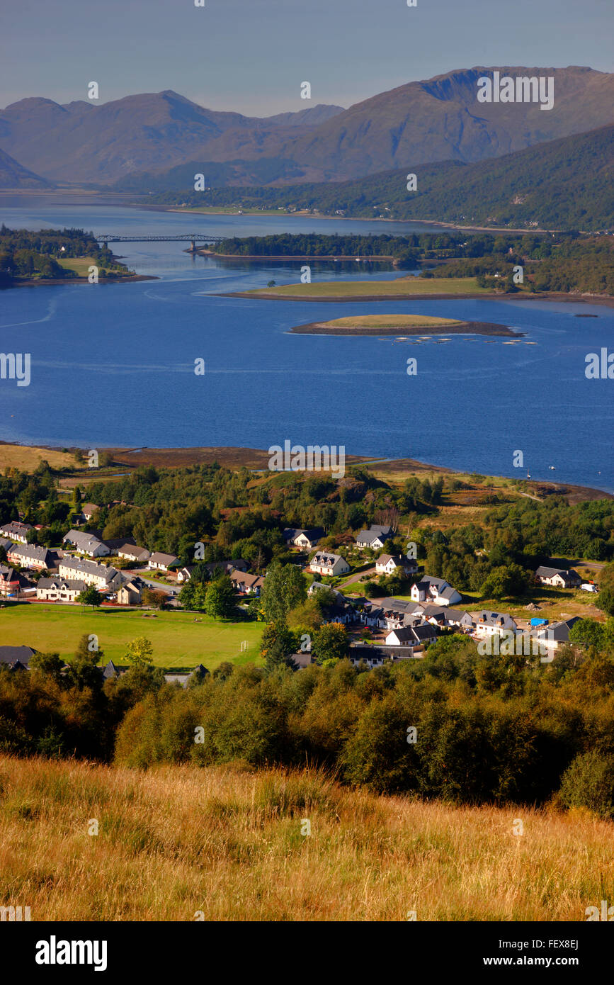 Ballachulish and Loch Leven from hills, Argyll - Stock Image