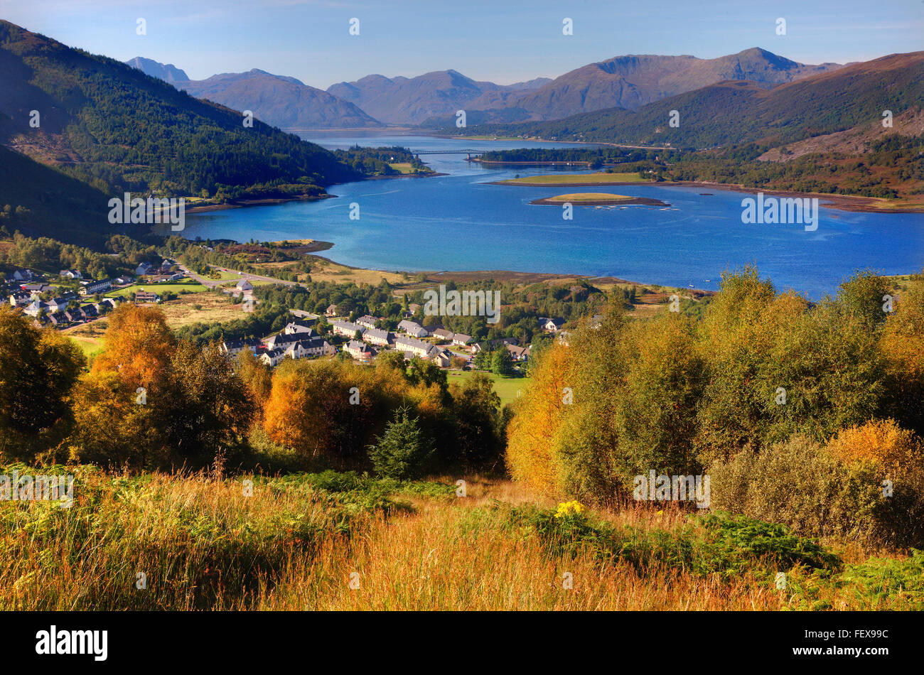 Autumn scene of Ballachulish and Loch Leven, West Highlands. - Stock Image