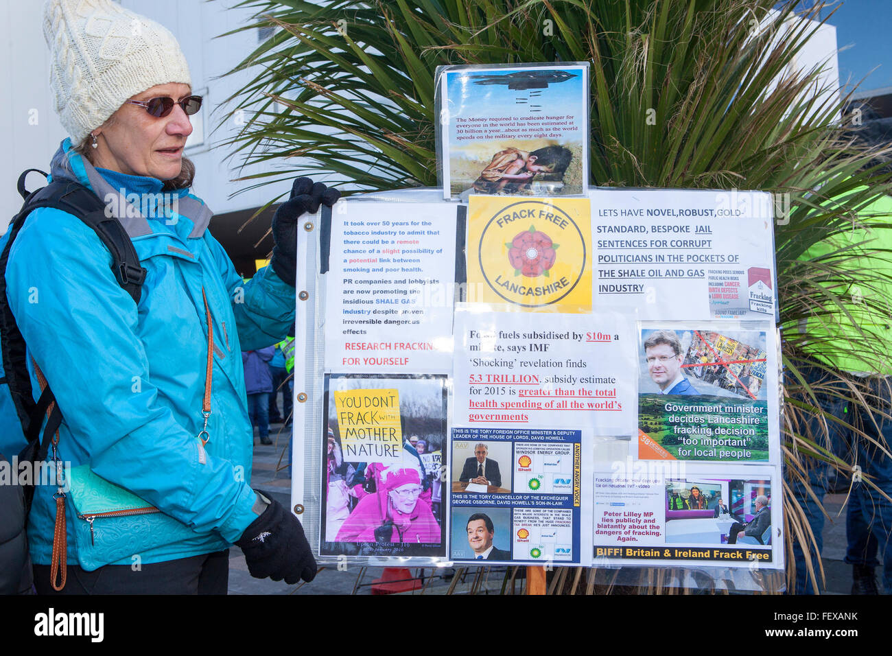Blackpool, Lancashire, UK 9th February, 2016. Protesters against the Cuadrilla appeal to allow shale gas drilling Stock Photo