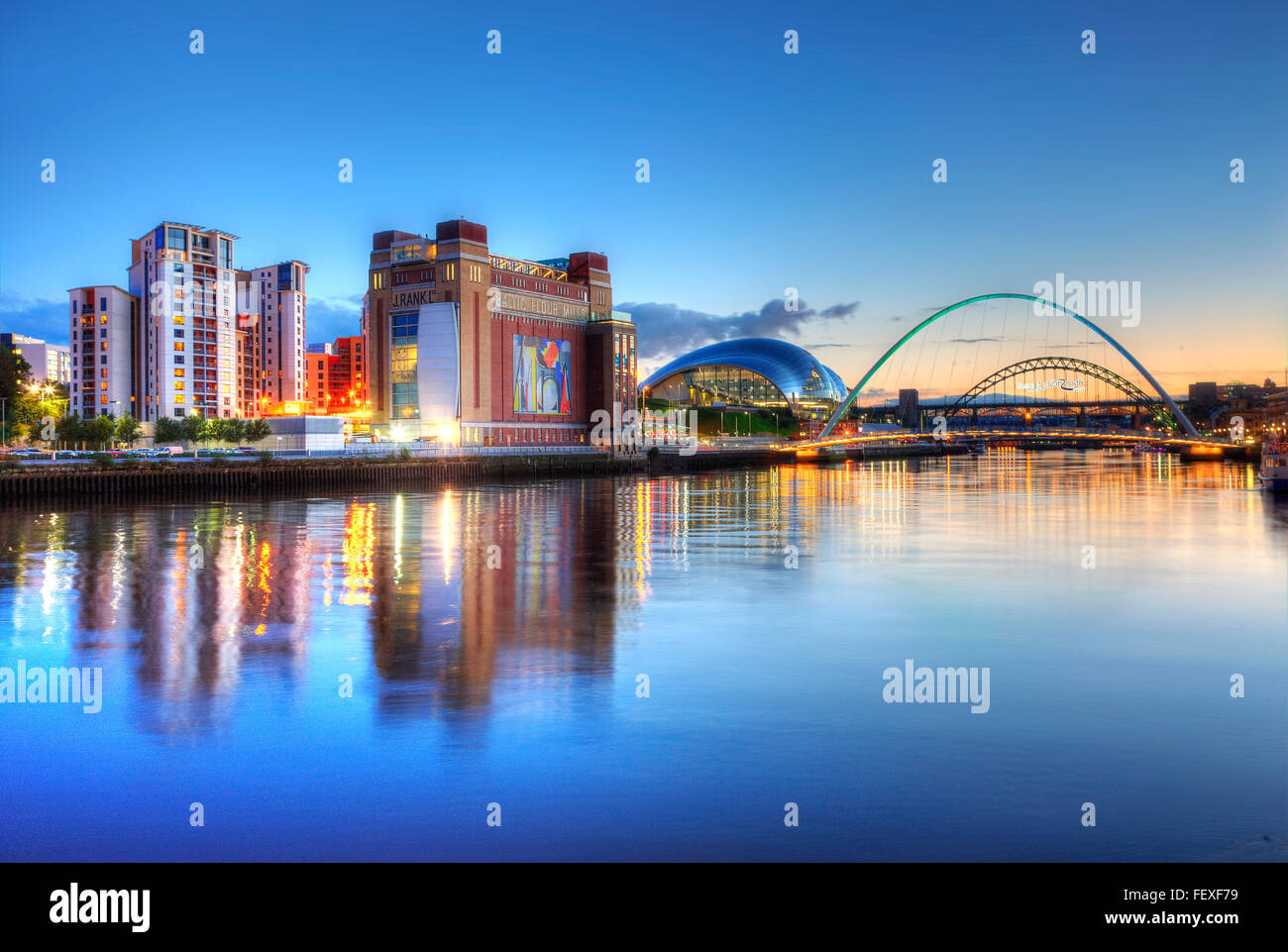 Newcastle at Dusk from the Tyneside, N/E England - Stock Image