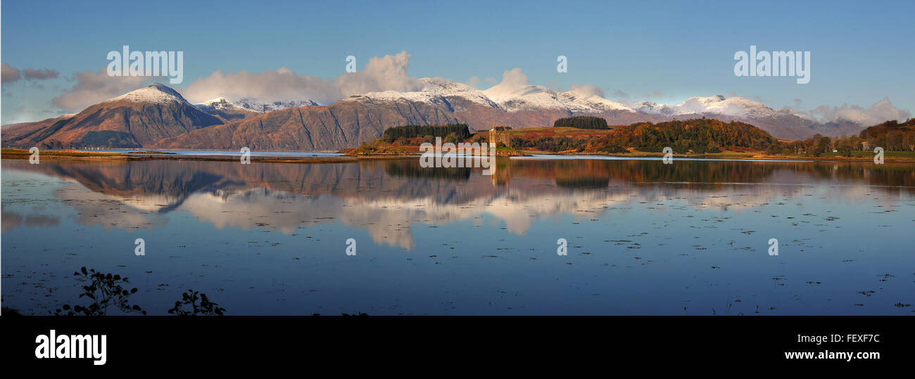 Castle Stalker reflections with the Morvern hills in view, Appin, Argyll - Stock Image