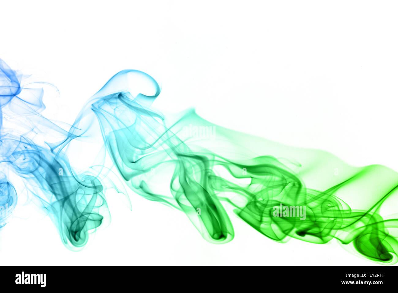 Colored smoke isolated on white background - Stock Image