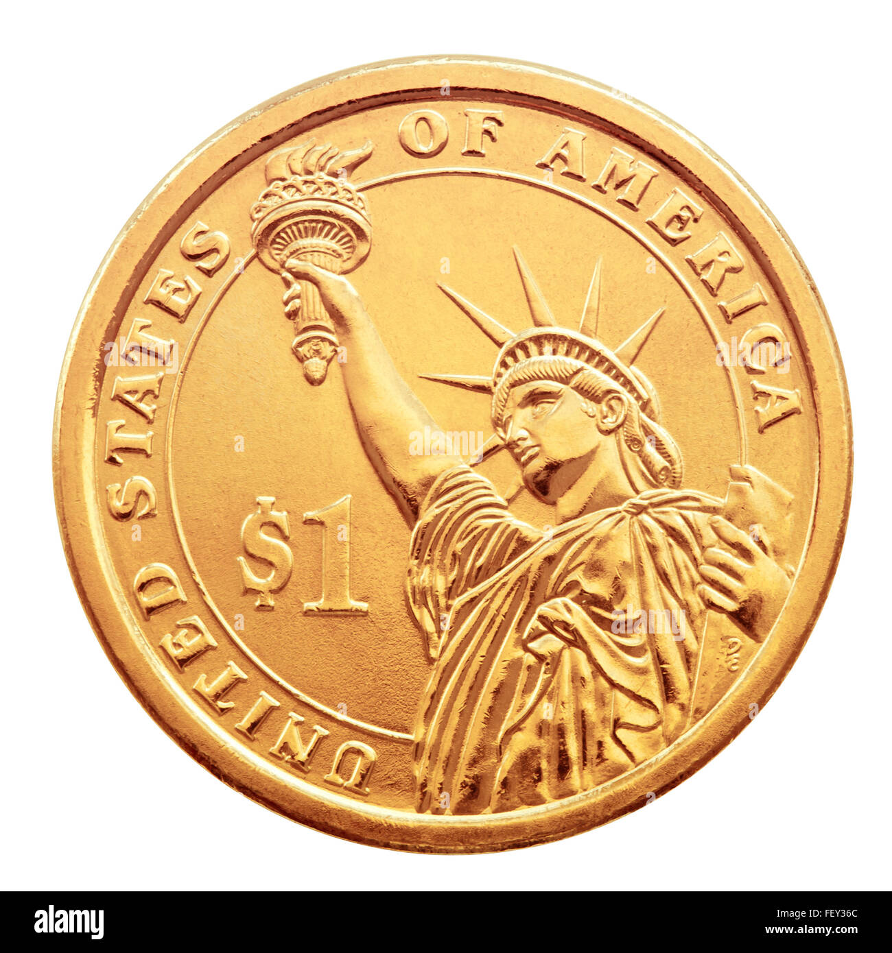 Golden one dollar coin, isolated on the white background. - Stock Image