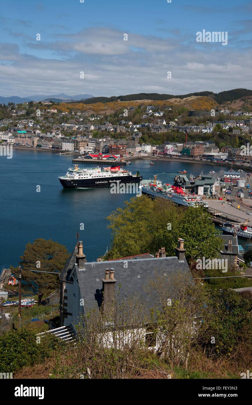MV Clansman and Mull in Oban bay, Argyll Stock Photo