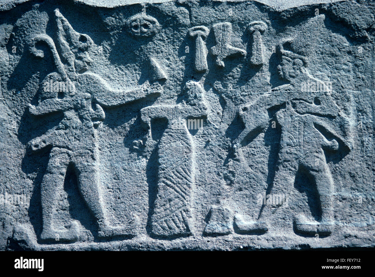 Hittite Firaktin (or Fraktin) Rock Relief Showing Hittite King Hattusili II (to the right) Making An Offering on Stock Photo