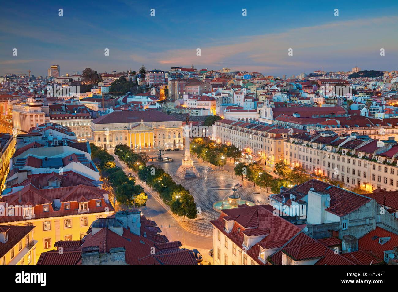 Lisbon. Image of Lisbon, Portugal during twilight blue hour. - Stock Image