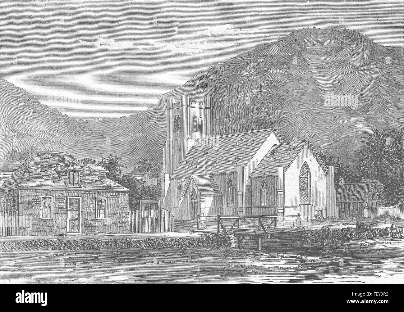 SEYCHELLES St Paul's Church, Victoria, Mahe 1863. Illustrated London News - Stock Image
