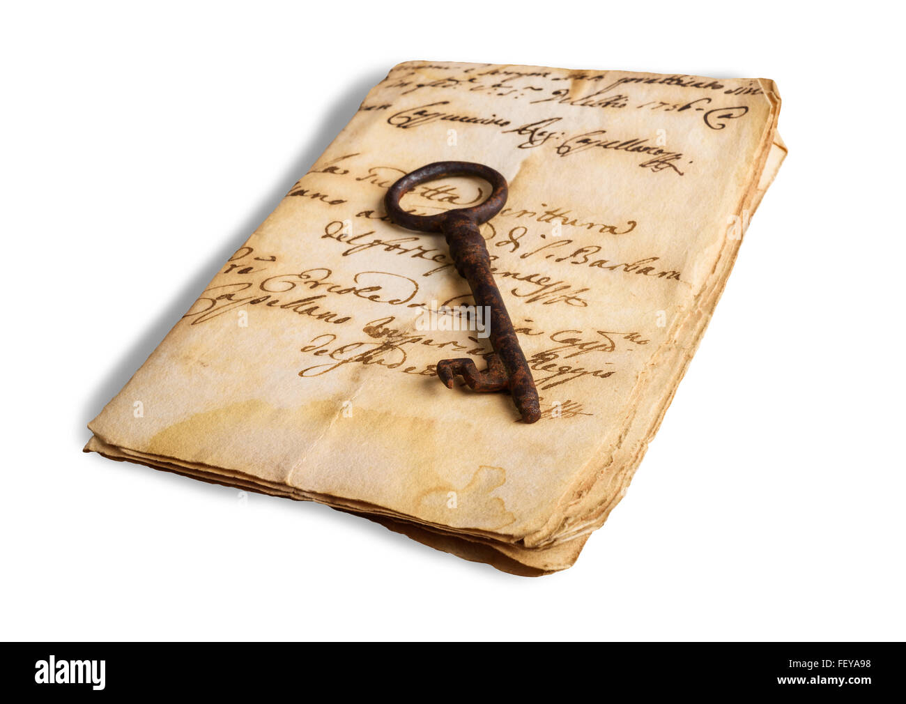 Old key  on letter isolated o0n white background - Stock Image