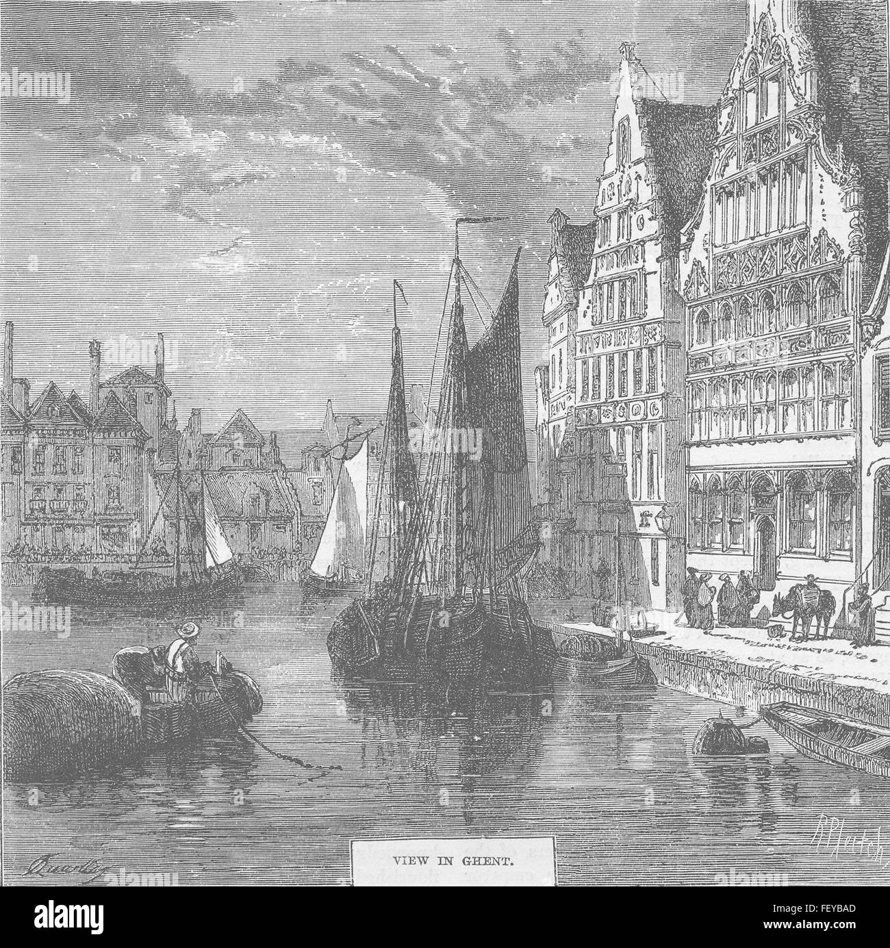 BELGIUM View in Ghent c1877. History of Protestantism, JA Wylie, published by Cassell & Co - Stock Image
