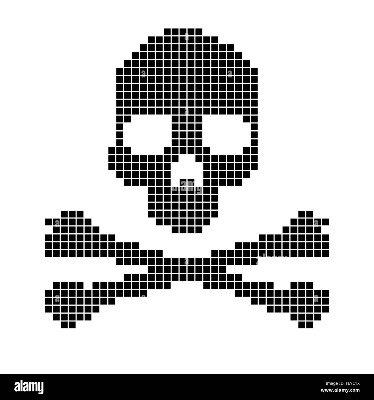 Skull And Crossbones Collected From Pixels Stock Vector Art