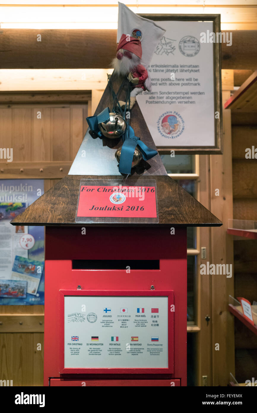 Rovaniemi, Lapland, Finland. 08th Feb, 2016. The mailbox for the 2016 Christmas season pictured at the postal office - Stock Image
