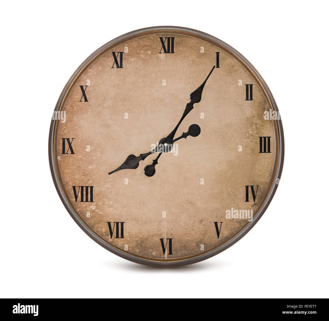 Vintage watch with roman numerals isolated - Stock Image