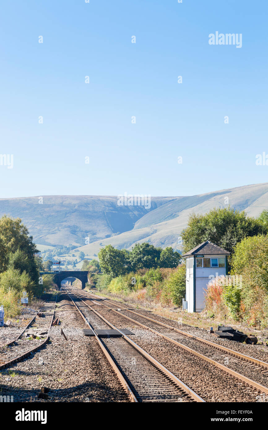 Railway lines and signal box in the countryside at Edale, Derbyshire, England, UK - Stock Image