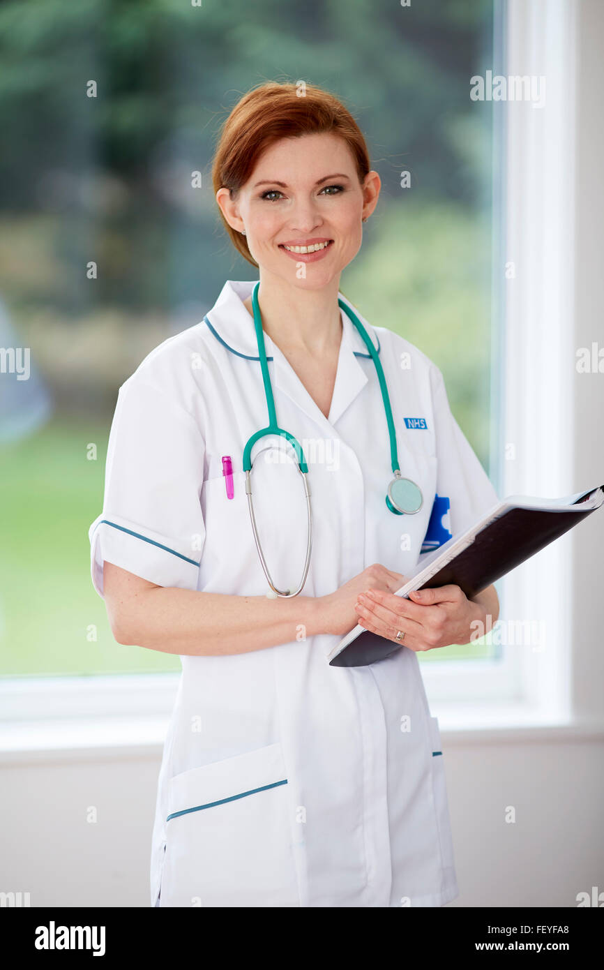 Portrait of Nurse smiling - Stock Image