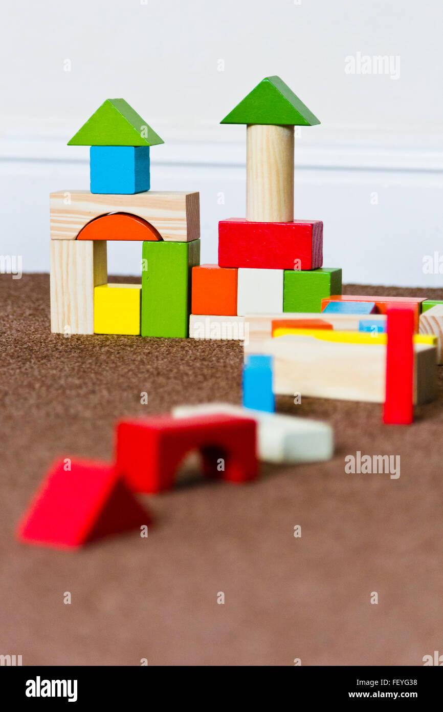 Children's wooden building blocks Stock Photo