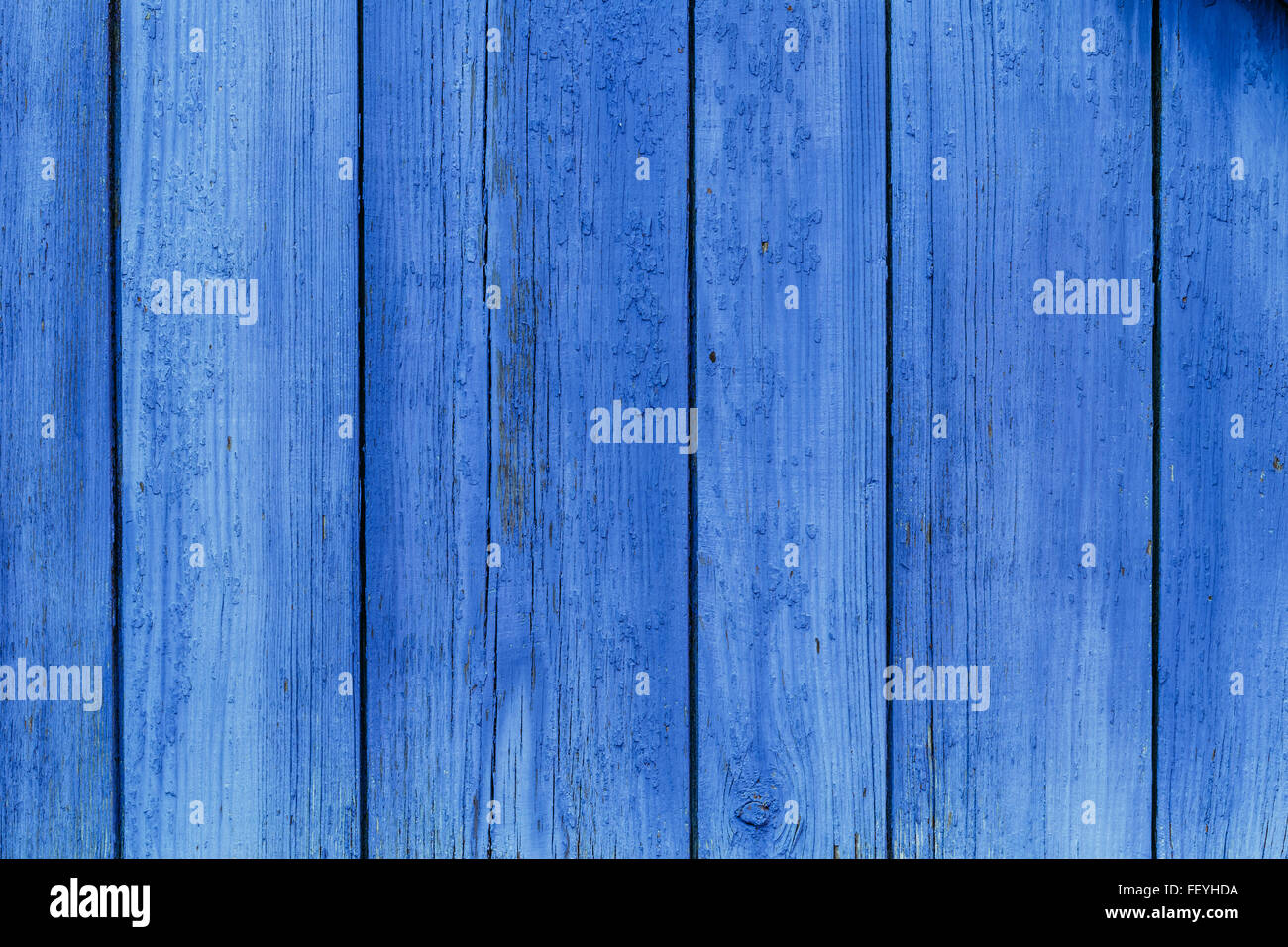 Old Blue Obsolete Wooden Board Planks Background Texture - Stock Image