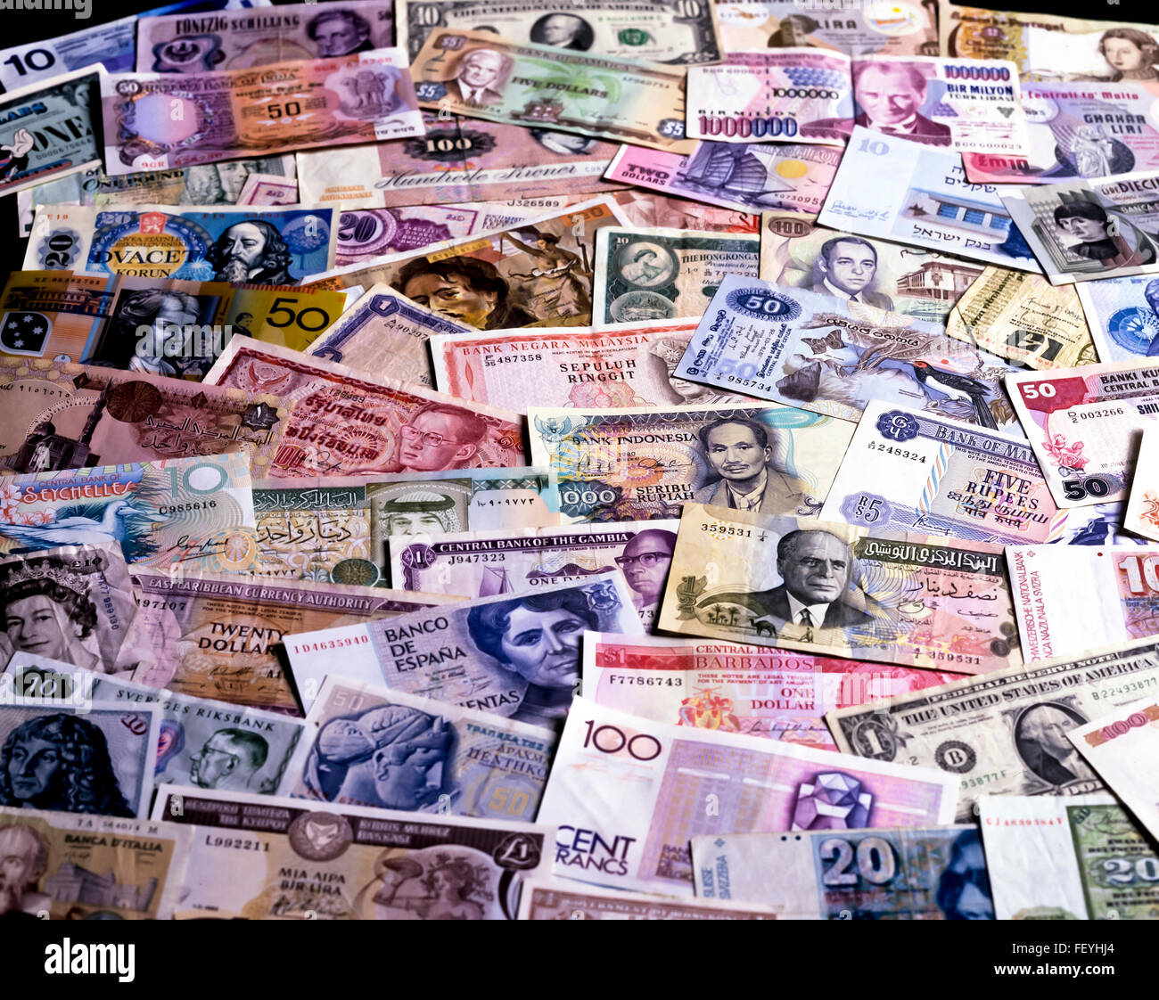 AA 6881. Archival 1990s International and Pre Euro Bank Notes - Stock Image