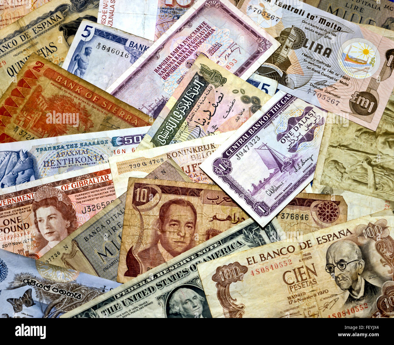 AA 6882. Archival 1990s International and Pre Euro Bank Notes - Stock Image