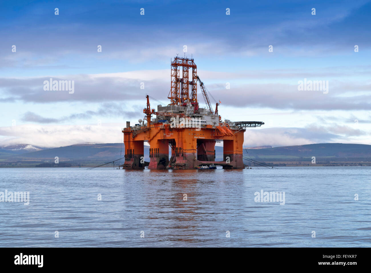 NORTH SEA OIL RIG THE WEST PHOENIX ANCHORED OUTSIDE CROMARTY THE BLACK ISLE CROMARTY FIRTH - Stock Image