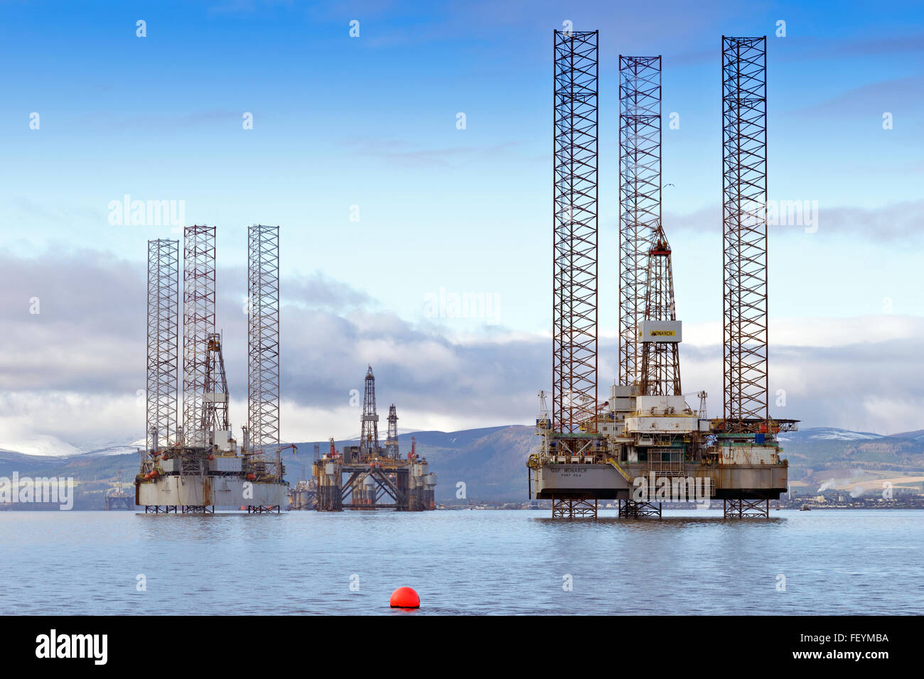 NORTH SEA OIL RIGS GALAXY AND MONARCH ANCHORED IN THE CROMARTY FIRTH UNDERGOING REPAIRS SCOTLAND - Stock Image