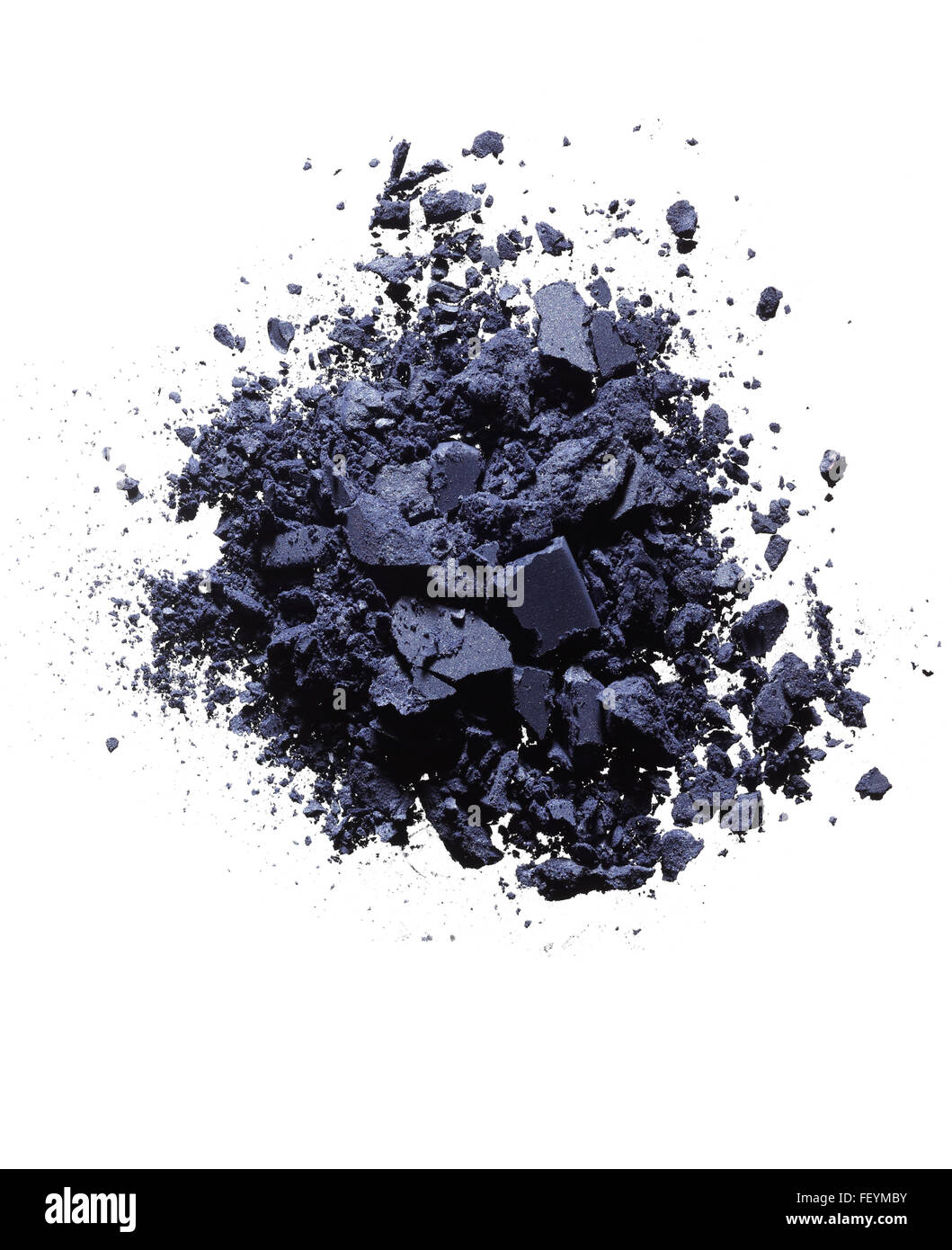 Purple eyeshadow powder on white background. - Stock Image