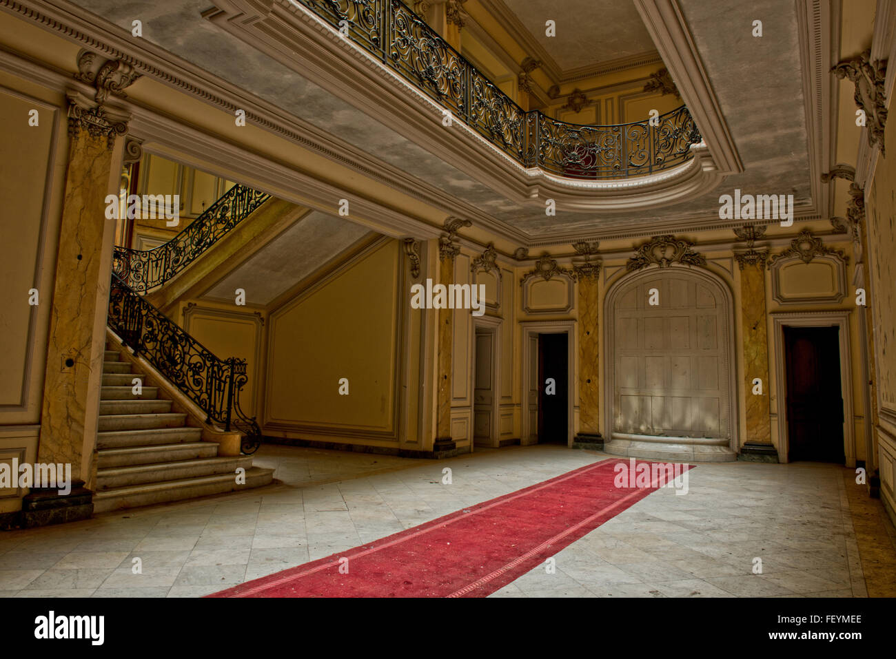 Known as Châteaux Lumniere due to its fancy skylight  and once owned by Maurice Burrus has now fallen into - Stock Image