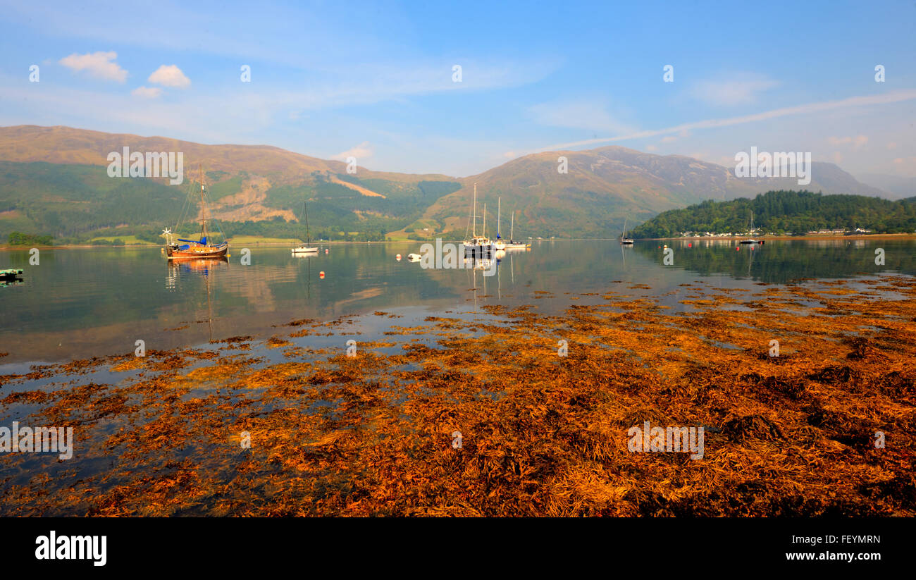 Peaceful autumn scene on Loch Leven, West Highlands. - Stock Image