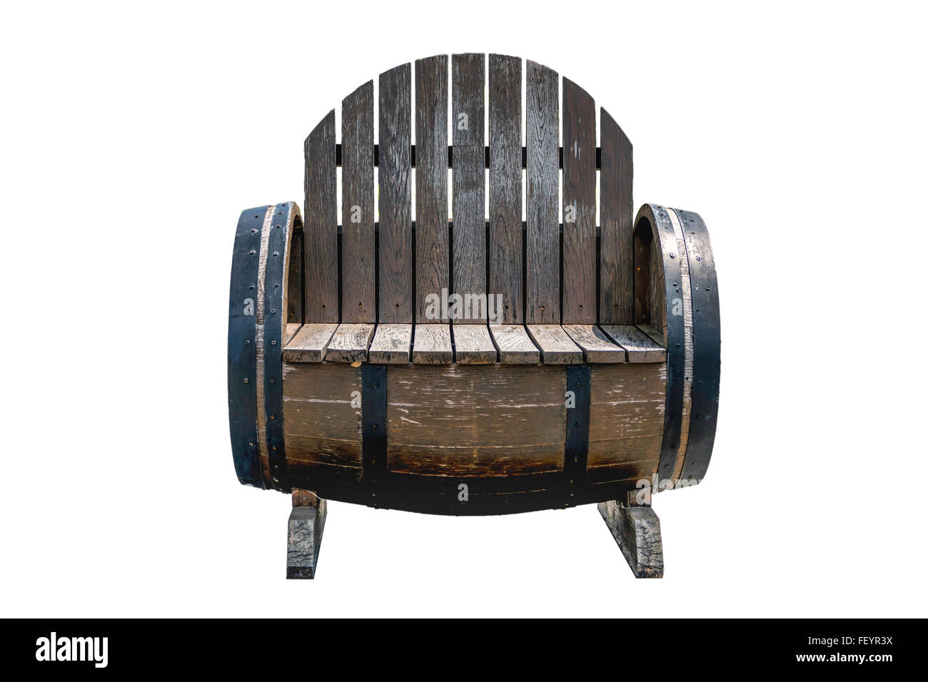 Old Wooden Chair Made From Old Wine Barrels Stock Photo 95267870