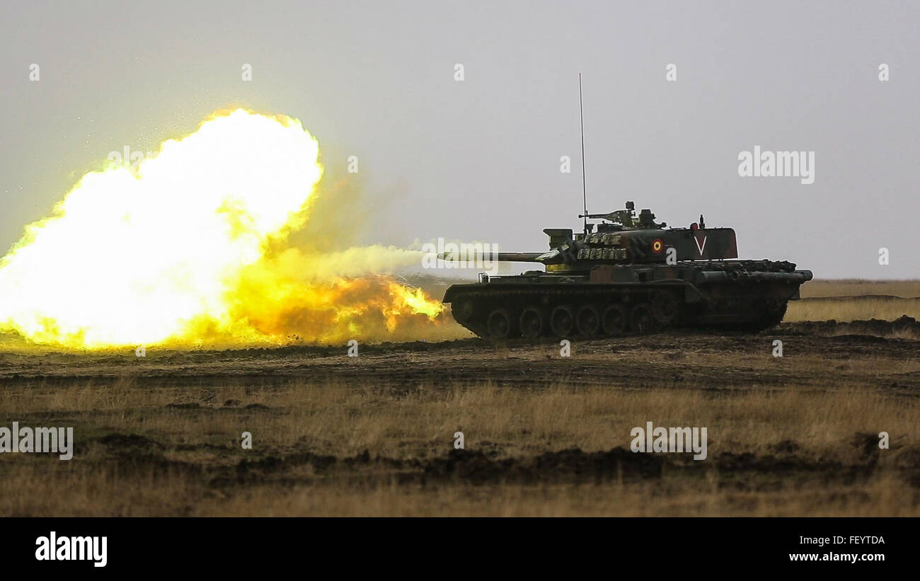 U.S., Romanian, and Moldovan military members participate in a tank shoot rehearsal during Platinum Lynx 16-2 at Stock Photo