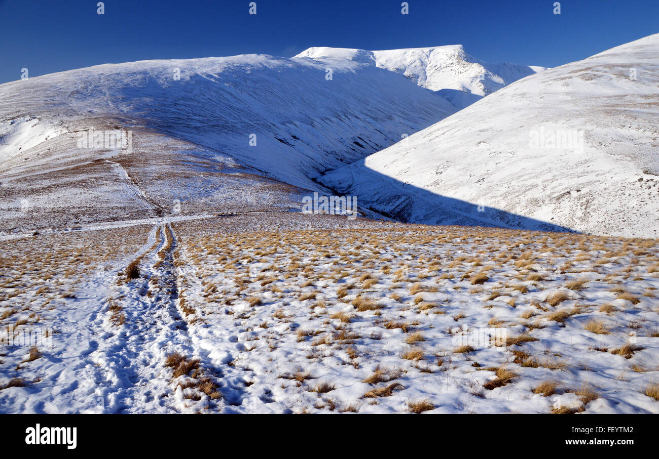 Scales Fell and Blencathra from above Mousthwaite Col in Winter Stock Photo