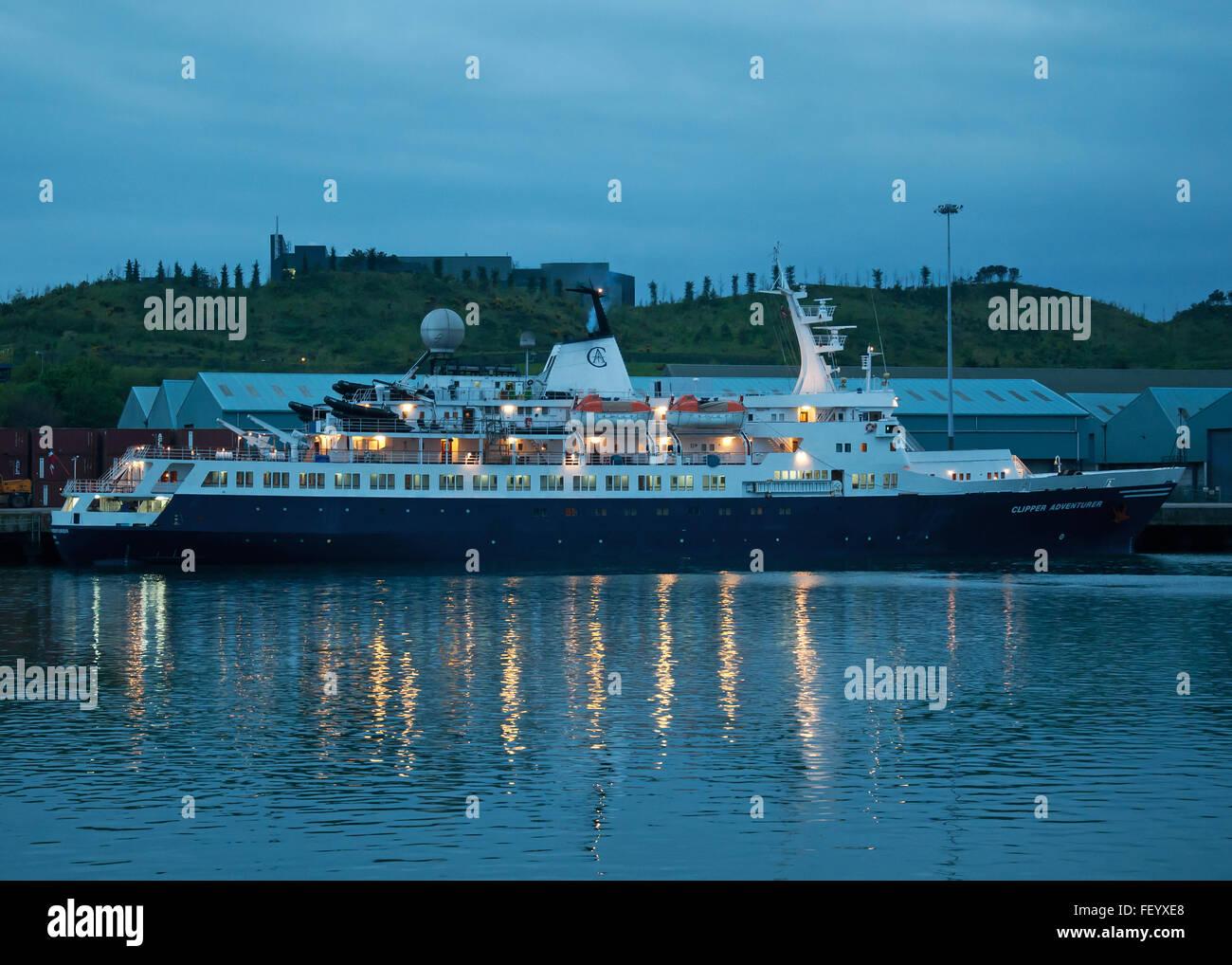 Luxury cruise liner 'M/V Clipper Adventurer' moored in Ringaskiddy, Port Of Cork, Cork, Ireland. - Stock Image