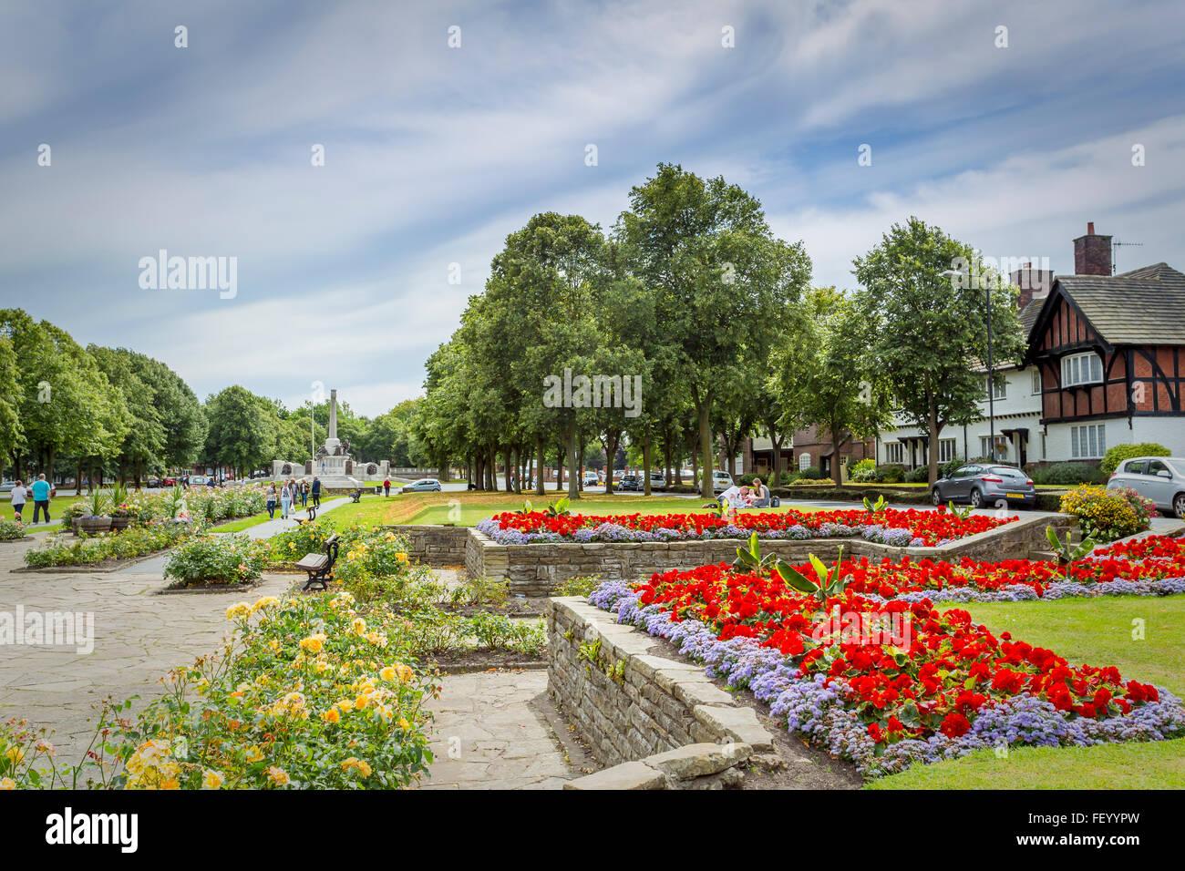Spacious public gardens at Port Sunlight. - Stock Image
