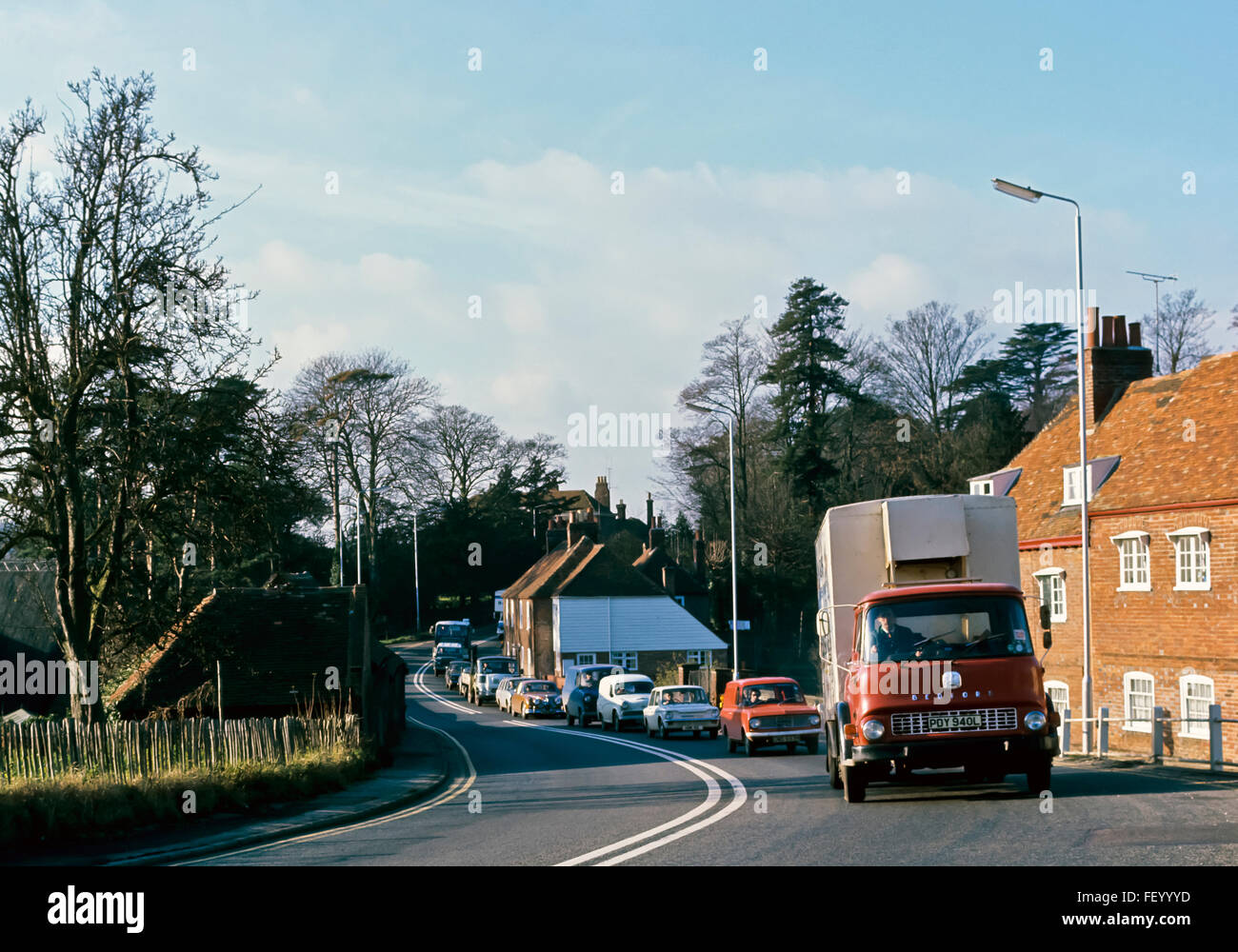 AA 7305. Archival 1970s, Traffic Jam on the old A2 at Harbledown, Canterbury, Kent, England Stock Photo