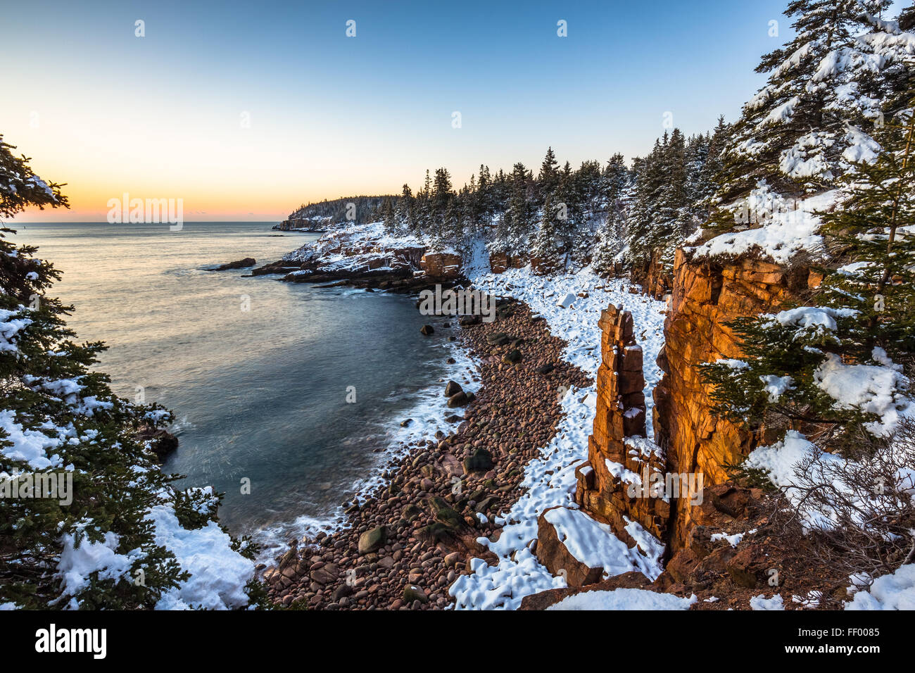 Acadia Cove Photo 95271909 Covered National Monument Park Stock Mount Alamy In Snow Winter -