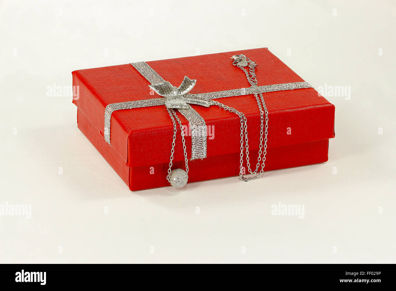 Silver necklace and jewelry box - Stock Image