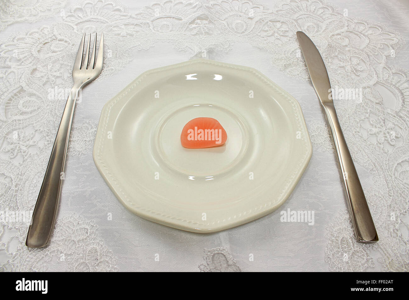Candy on plate - Stock Image