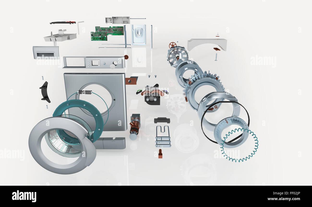 Disassembled parts of a washing machine - Stock Image