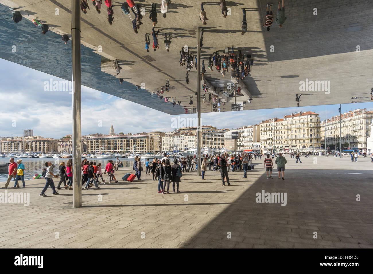 Marseille Vieux Port ,  Ombriere mirror Norman Foster of the Old Port, Quai des Belges, Provence-Alpes-Cote d'Azur, Stock Photo