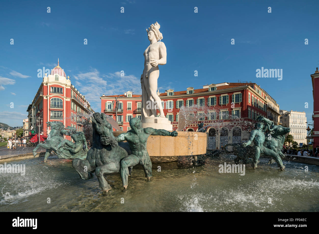 Fountain of the Sun with Apollo statue on Place Massena in Nice, France - Stock Image