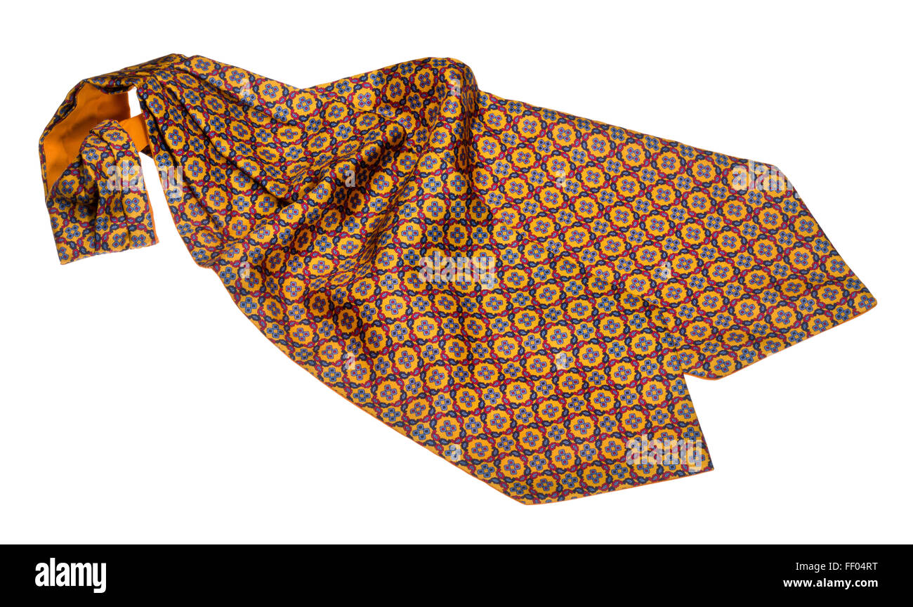 Silk cravat or neck tie. Cut out image of  gentleman's piece of clothing or attire. Worn around the neck. - Stock Image