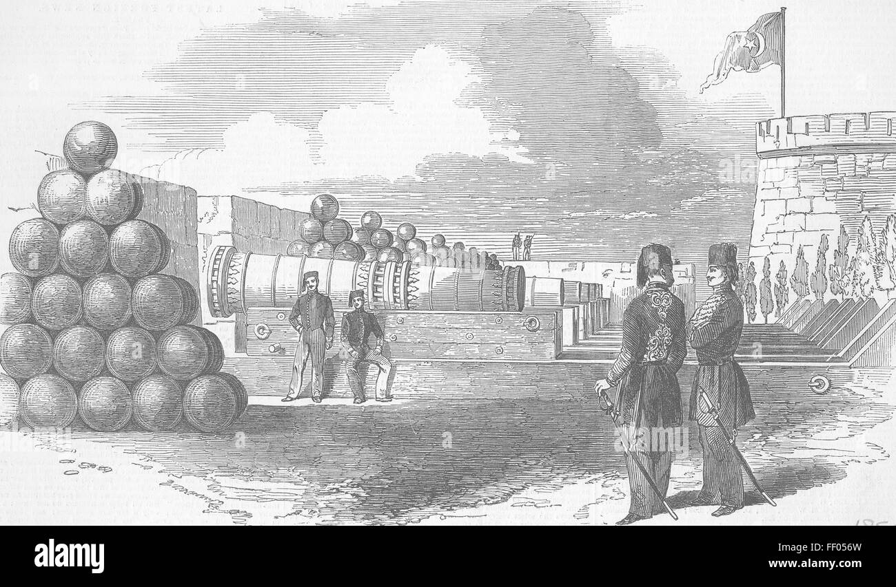 TURKEY The Dardanelles The Battery And Stone Shot 1850. Illustrated London News - Stock Image