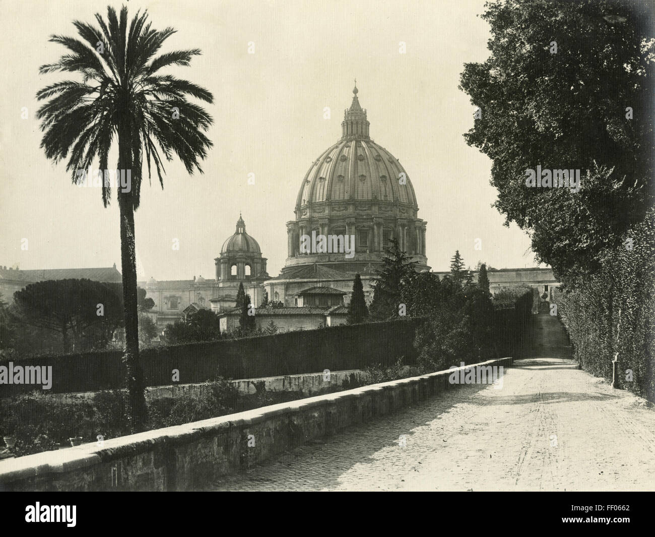 The dome of St. Peter view from the garden, Vatican City - Stock Image