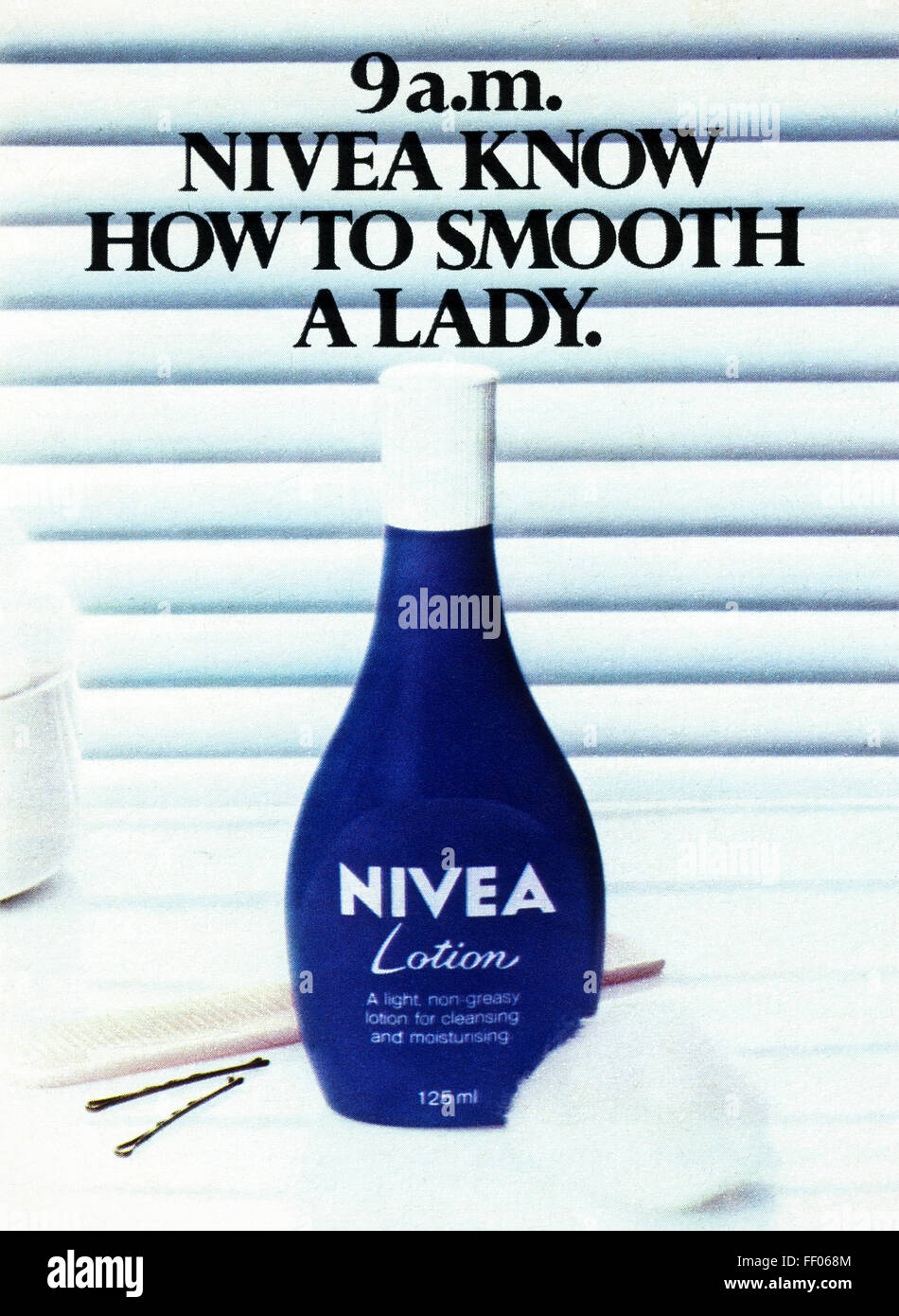 Original full page colour vintage advert from 1970s. Advertisement dated 1978 advertising Nivea lotion for cleansing - Stock Image
