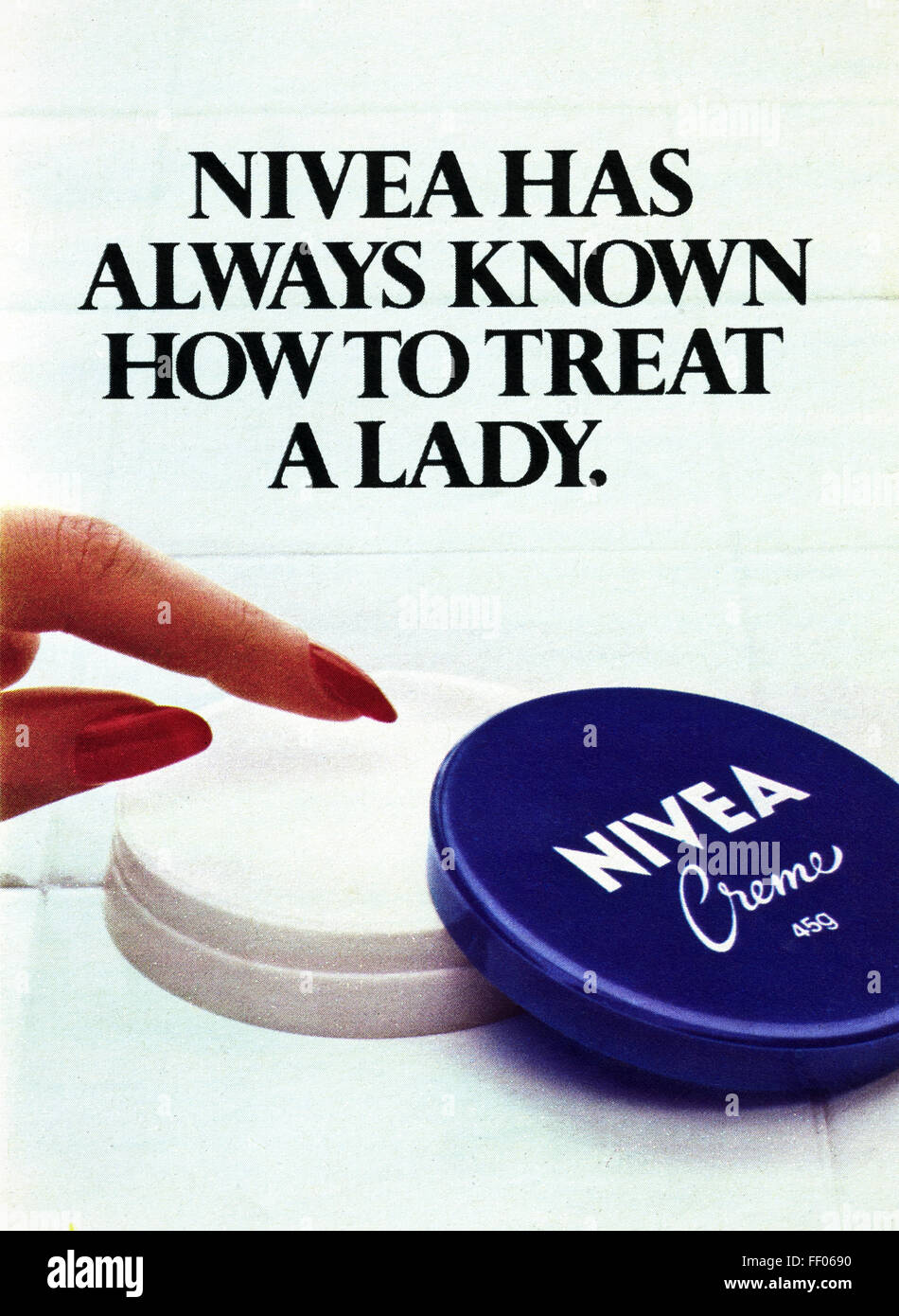 Original full page colour vintage advert from 1970s. Advertisement dated 1978 advertising Nivea hand cream - Stock Image