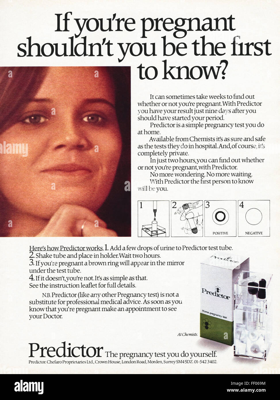 Original full page colour vintage advert from 1970s. Advertisement dated 1978 advertising Predictor pregnancy test - Stock Image