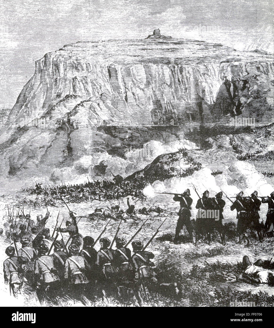 BATTLE OF AROGHEE, Abyssinia,  10 April 1868 with British troops advancing  on Magdala - Stock Image