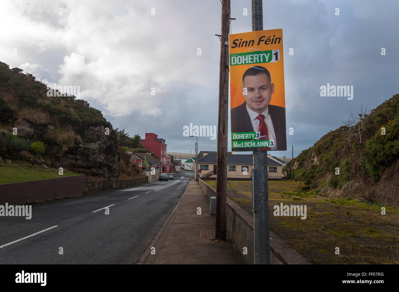 Election 2016 poster for Sinn Féin TD Pearse Doherty in Burtonport, County Donegal, Ireland - Stock Image