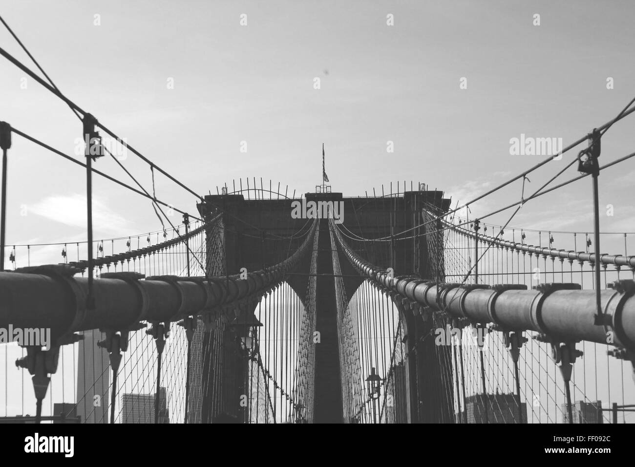 Brooklyn Bridge Monochrome Brooklyn Bridge Monochrome - Stock Image