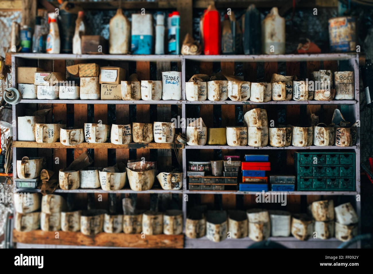 Shelf with Work Tools Shelf with Work Tool - Stock Image