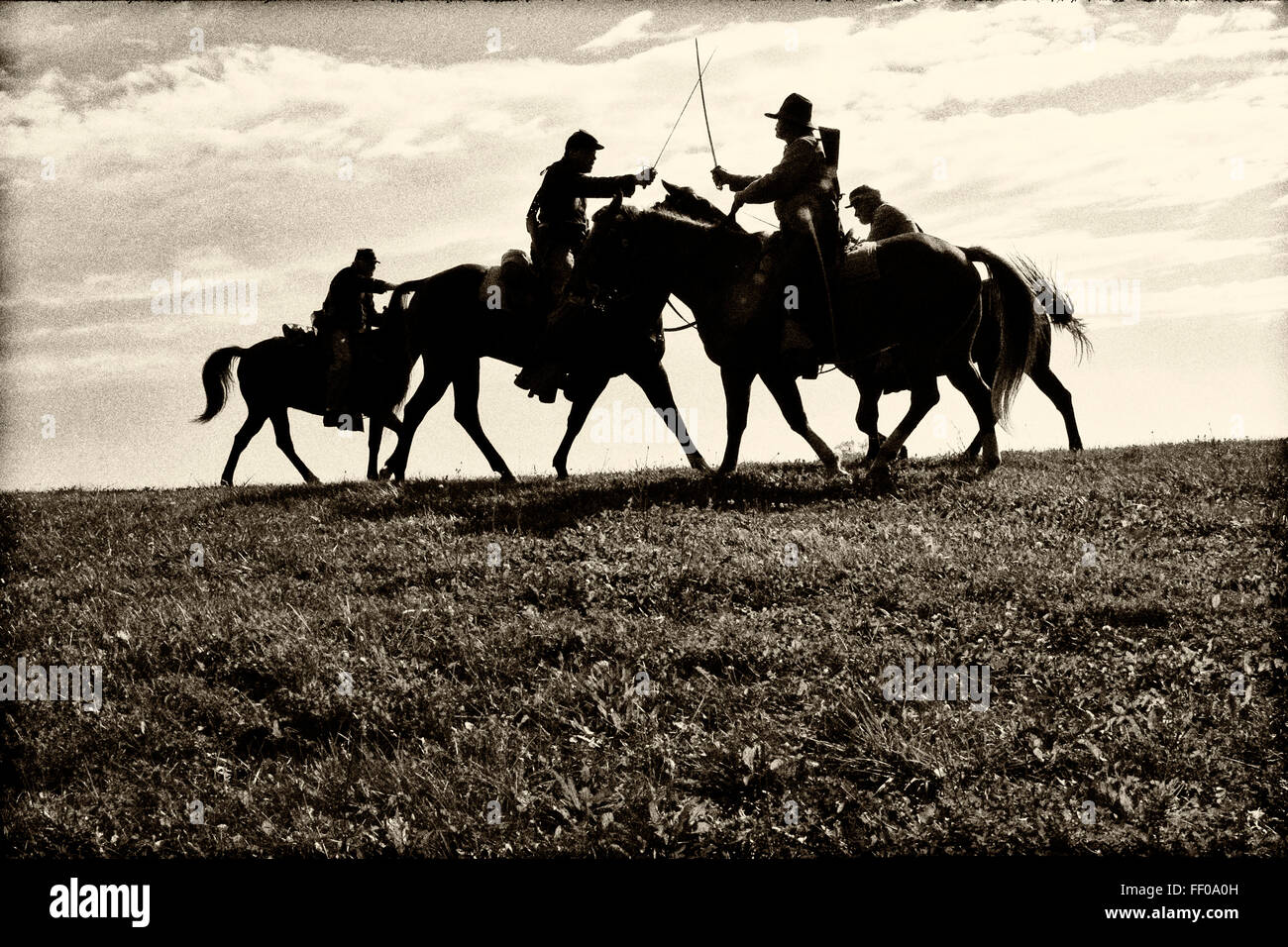 Civil War Calvary 2nd WI fighting on a ridge reenactment - Stock Image